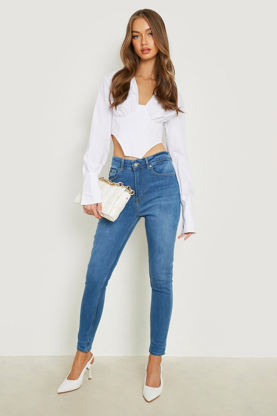 Butt Shaper Mid Rise Skinny Jeans by Boohoo