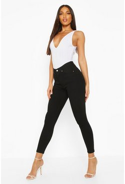 Womens Black Butt Shaper Mid Rise Skinny Jean