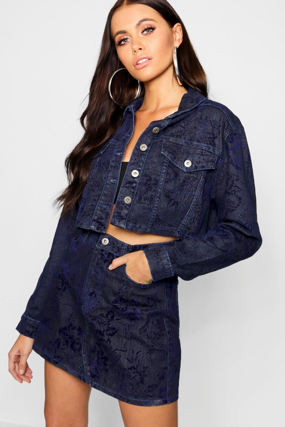 Indigo Tonal Jacket Denim Crop Flocked indigo pgxTg5q