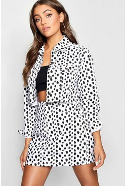 Womens White Dalmation Print Cropped Denim Jacket