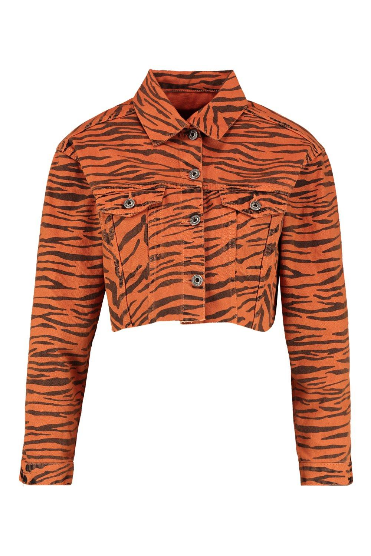 Print Denim tan Jacket Cropped Tiger q6aU48a