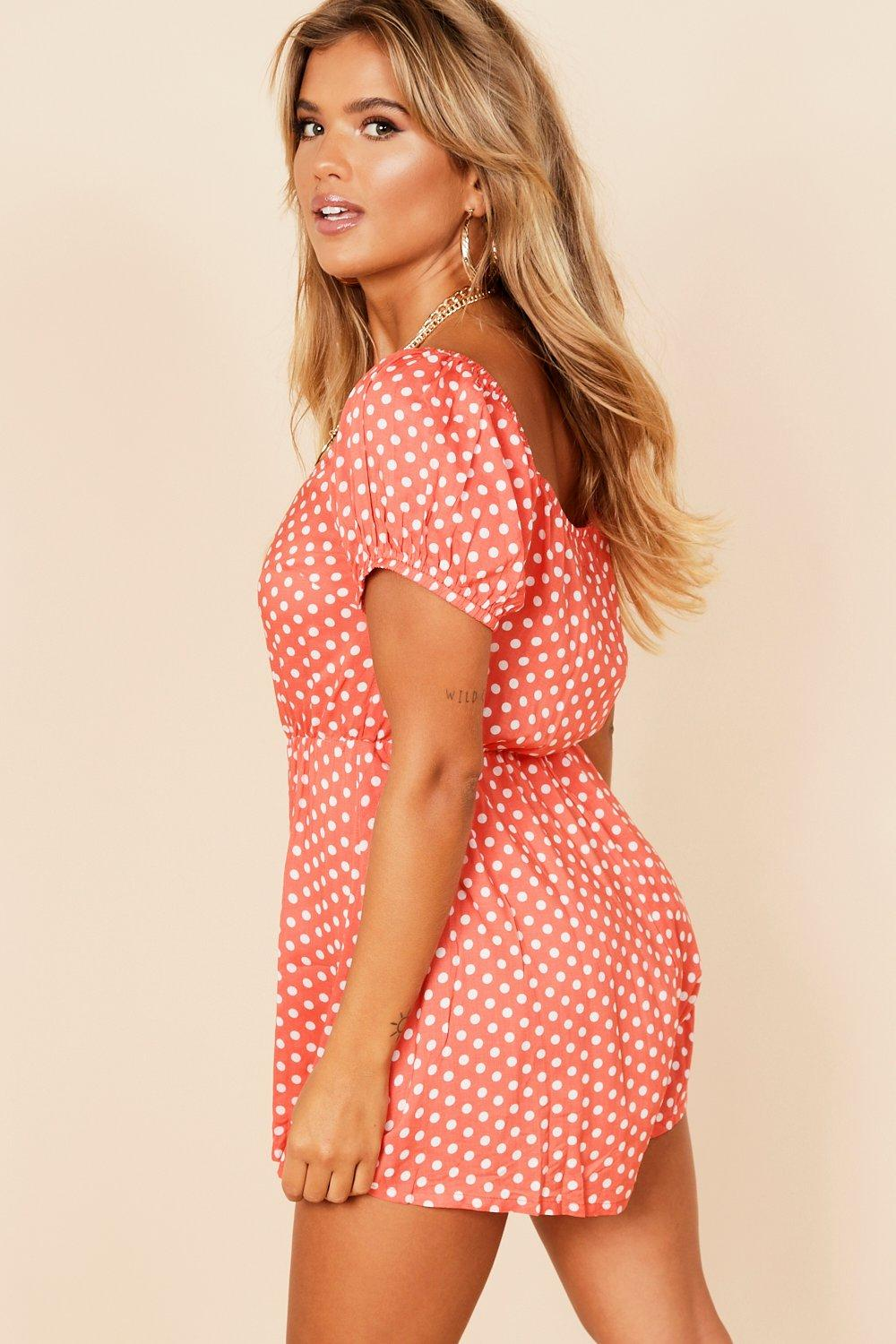 coral Spot Puff Through Playsuit Sleeve Button nRwwF7xqz8