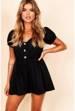 Puff Sleeve Button Through Playsuit, Black, DAMEN