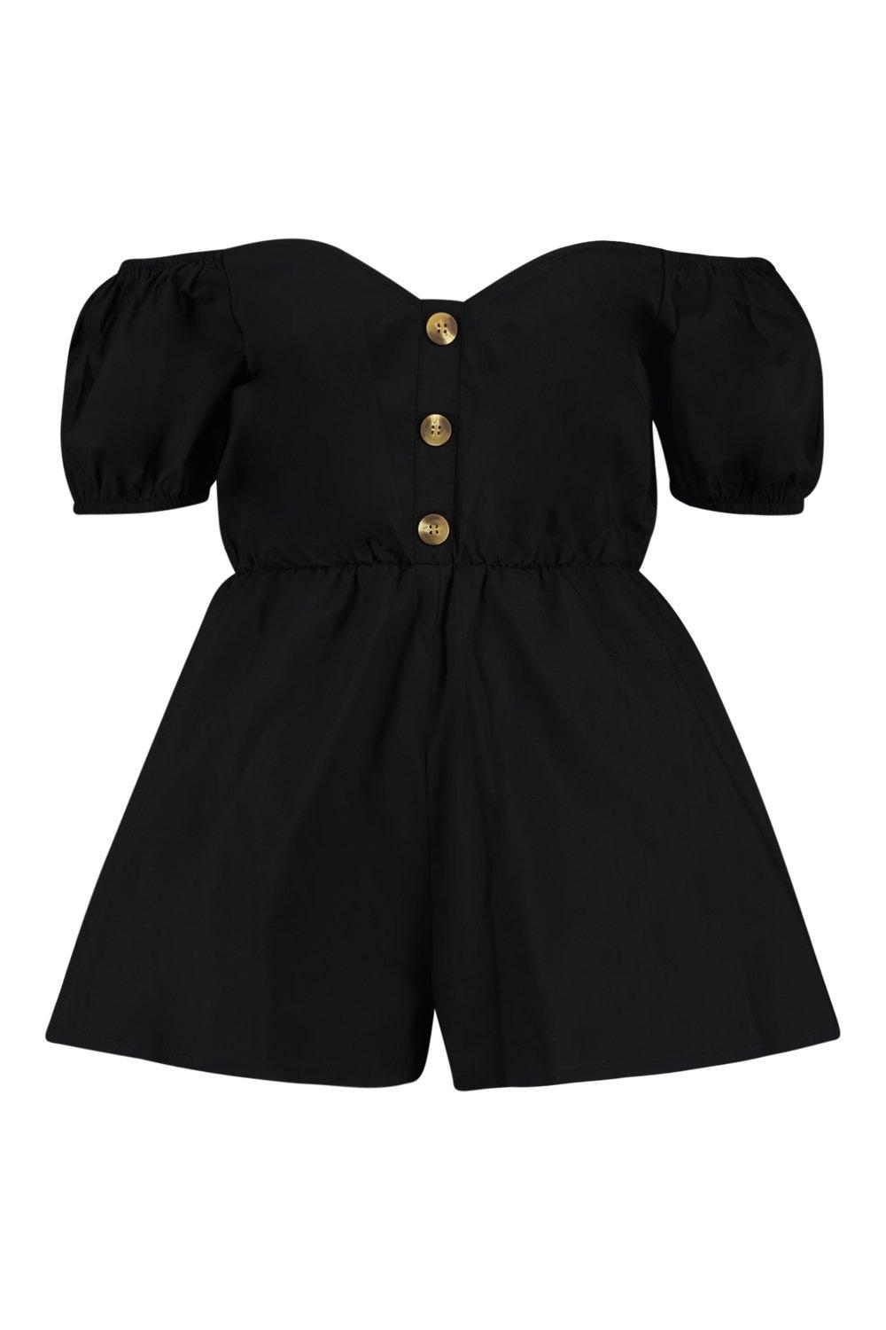 Button Puff Sleeve black Through Playsuit OFg7Fn
