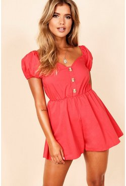 Red Puff Sleeve Button Through Playsuit