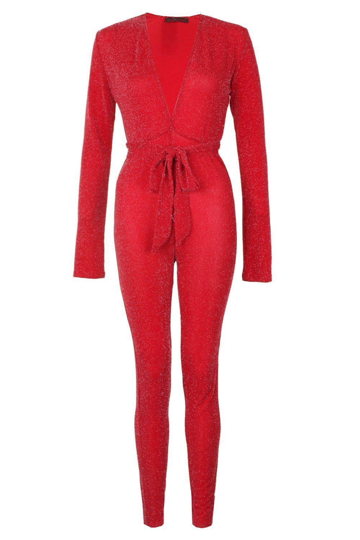 Jumpsuit Tie Sparkle red Glitter Waist WqAFAw4p