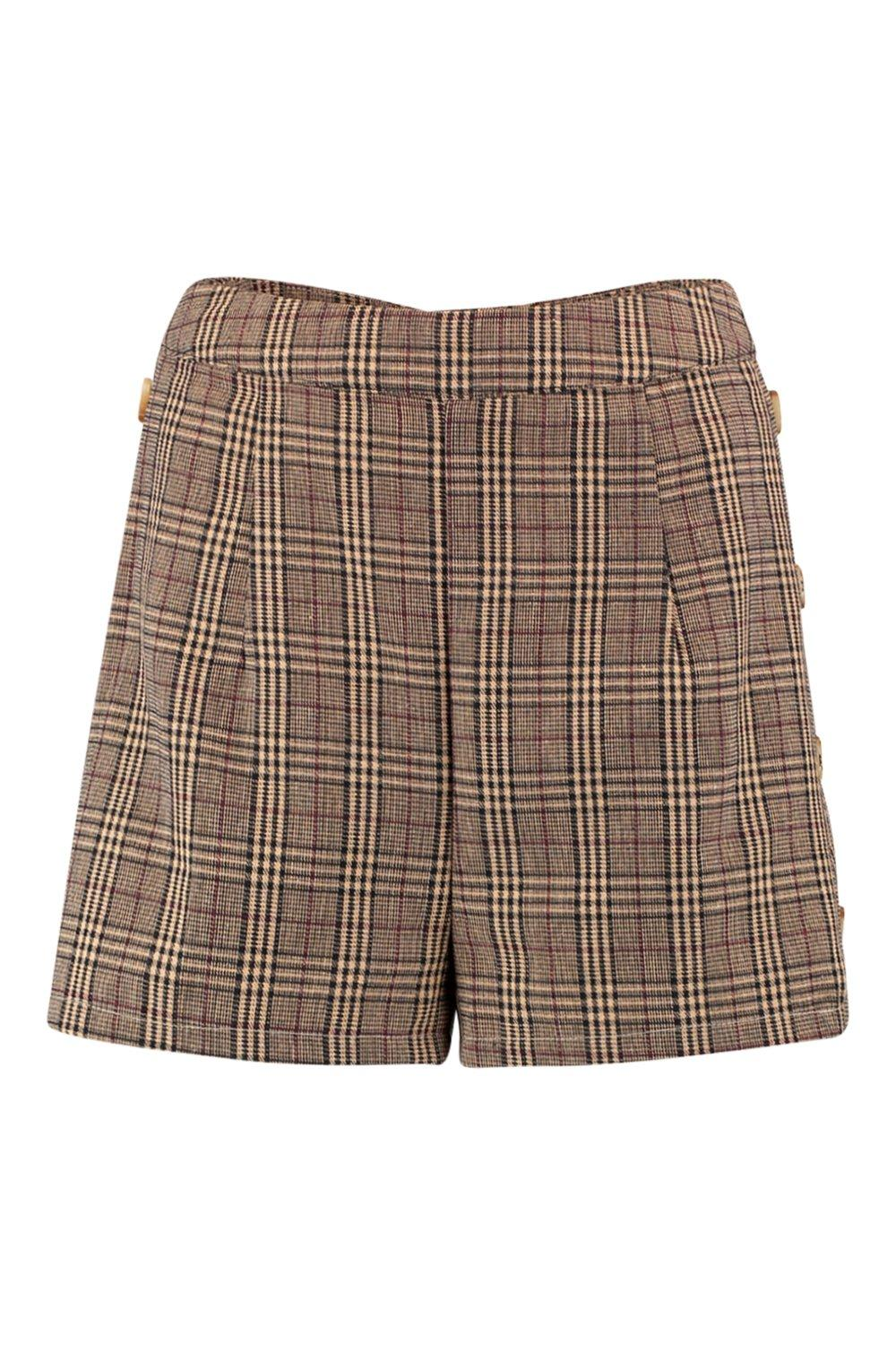 Shorts Check Horn Tailored brown Button Side qI0I8B