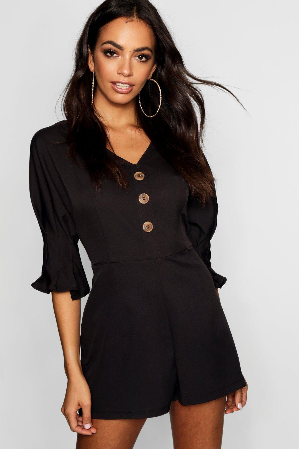Balloon Tea Playsuit Horn Sleeve Button black Ow5xw1qH