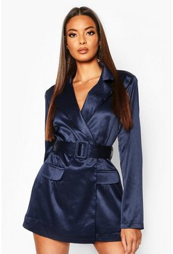 Blazer-Playsuit in Satin-Optik mit Gürtel, Marineblau, Damen