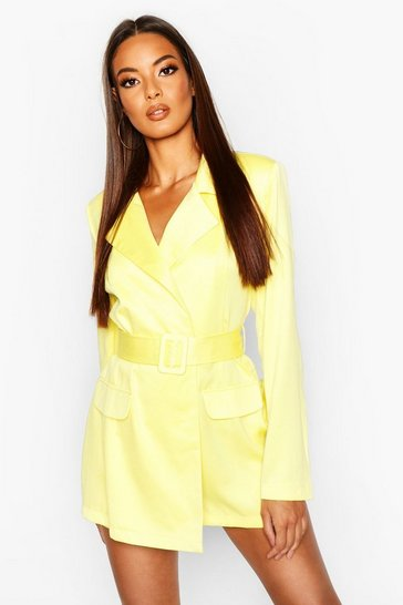 Womens Neon-lime Satin Belted Blazer Playsuit