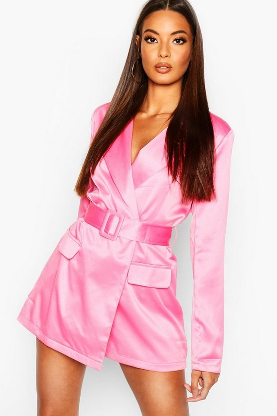 Womens Pink Satin Belted Blazer Playsuit