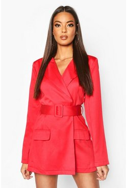 Womens Red Satin Belted Blazer Playsuit