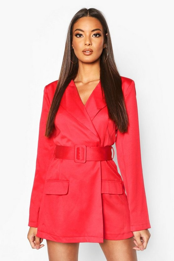 Womens Red Satin Belted Blazer Romper