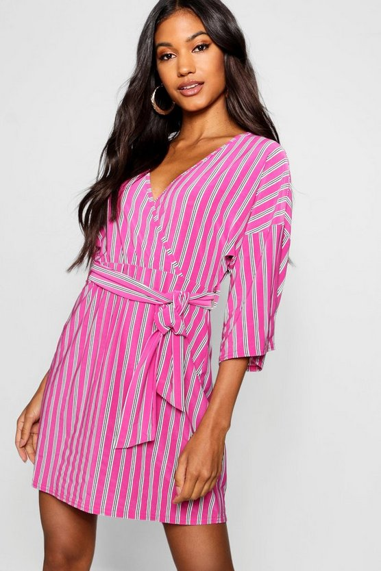 Womens Burgundy Kimono Sleeve Striped Skater Dress