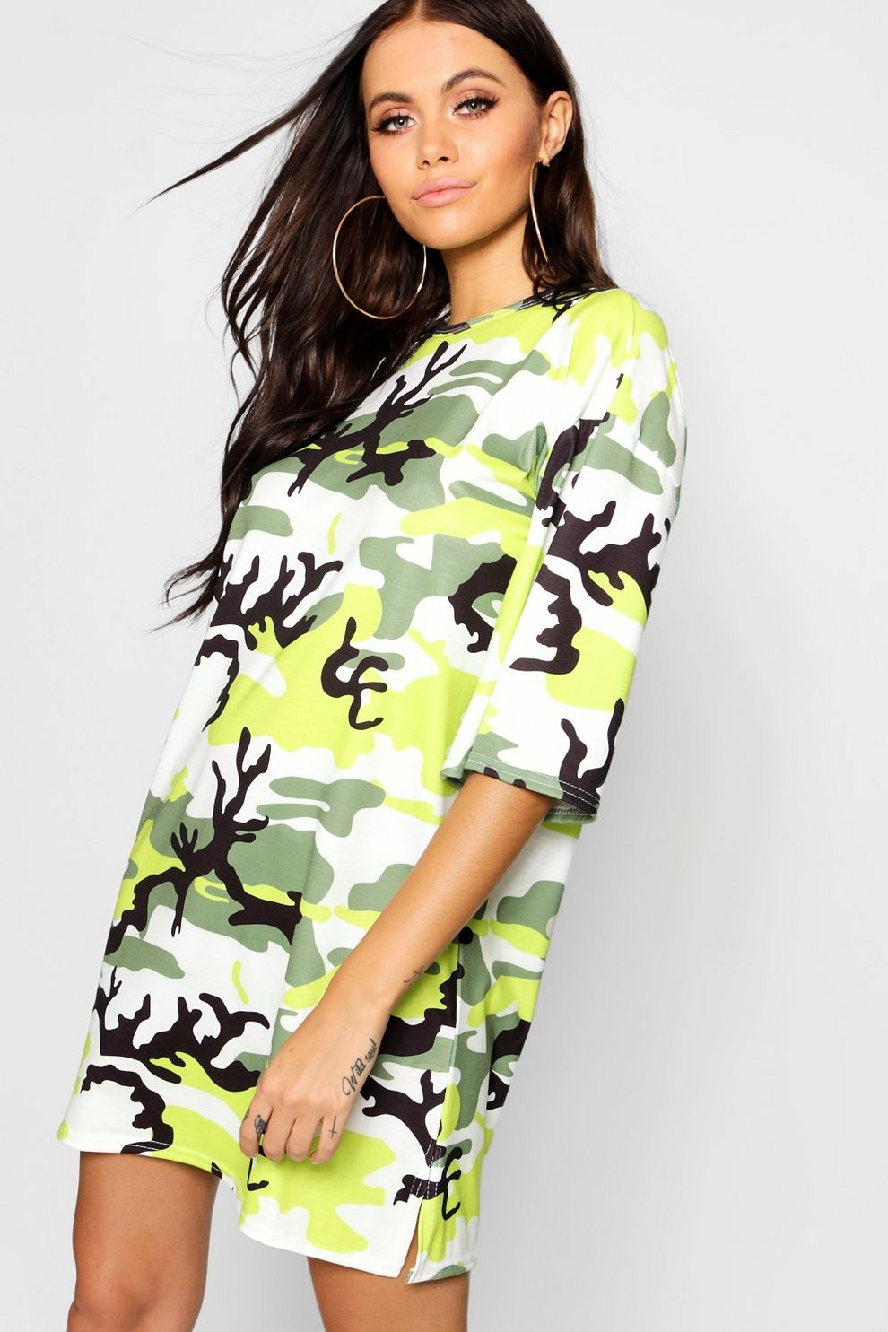 d4b7843c75 Neon Camo Oversized T-Shirt Dress   Boohoo