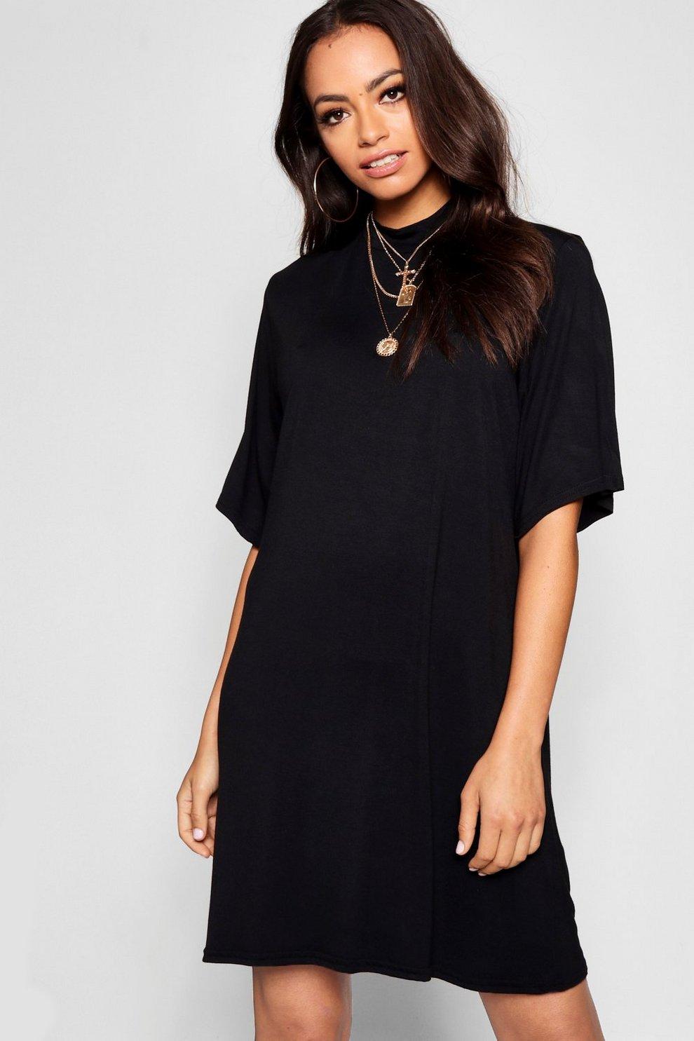67d9bcaa77aa5 High Neck Oversized T-Shirt Dress | Boohoo