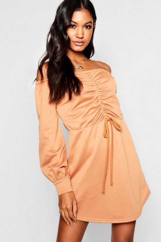 Ruched Off The Shoulder Sweatshirt Dress