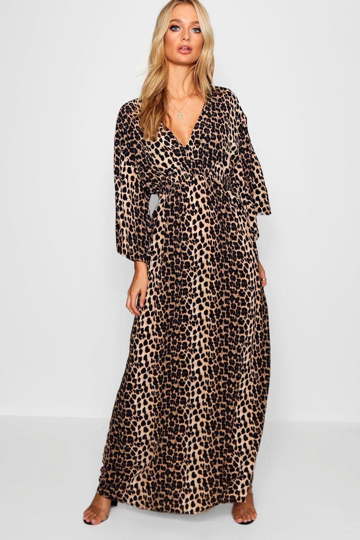 fad5abb980d1 Womens Leopard Print Maxi Kimono Sleeve Dress. Hover to zoom