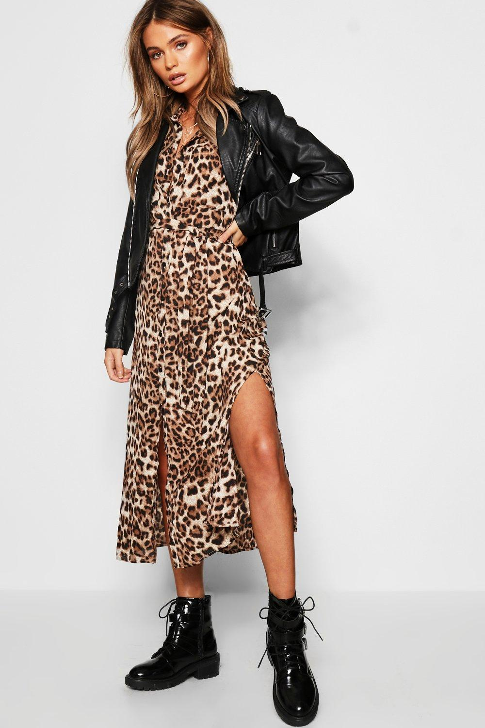 Image result for Leopard Print outfit with leather