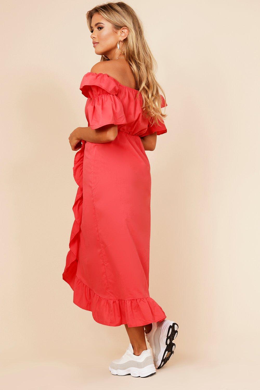 Boohoo Womens Off The Shoulder Frill Wrap Dress  cf37bebf3