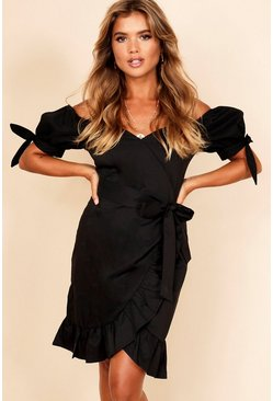 Womens Black Ruffle Detail Bardot Mini Wrap Dress