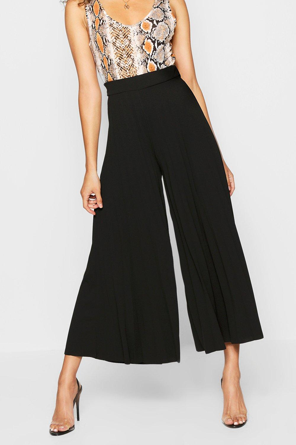 Culotte Pleated black Trouser Pleated Culotte HqTawxqpOn