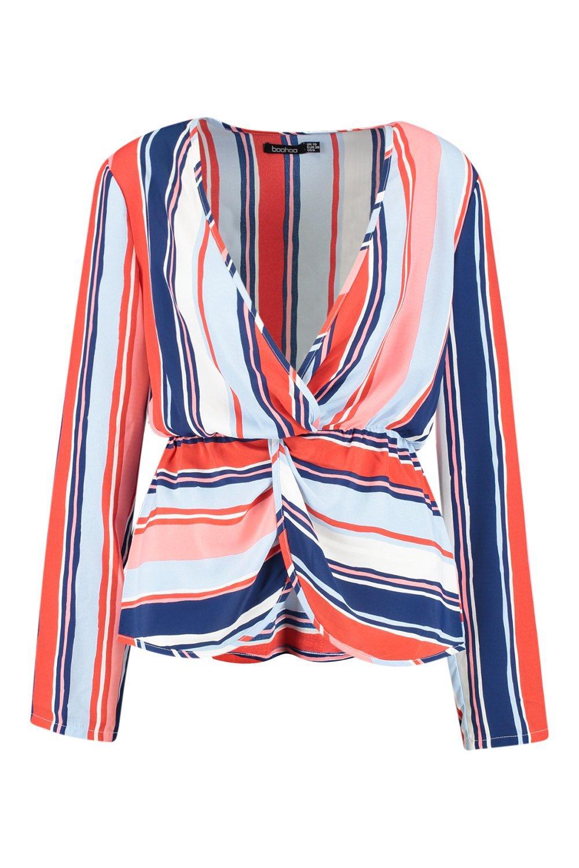 Plunge Plunge Twist Stripe Stripe Twist Plunge Stripe Blouse Front Front Blouse 5wqxZCB7nn