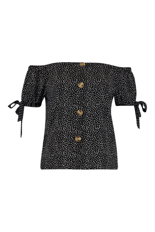 Dalmatian Spot Bardot Blouse black Sleeve Tie vqnfnFA