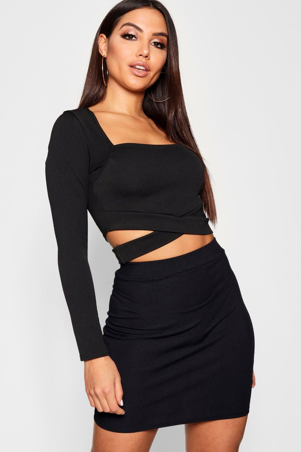 ba6757e9bb0d7d Womens Black Square Neck Long Sleeve Cut Out Crop