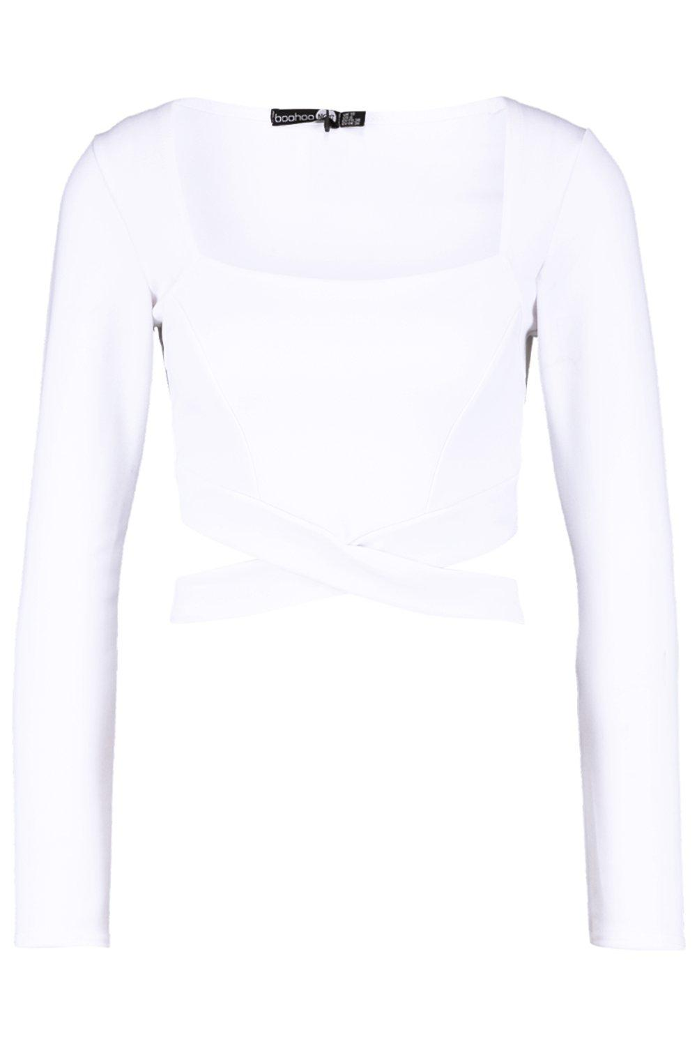 Sleeve Out Cut white Square Long Neck Crop qcTSWA6E1