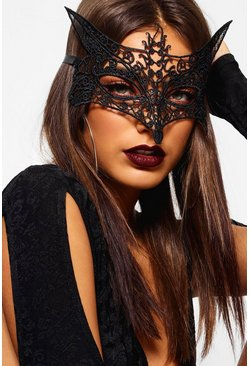 Womens Black Halloween Lace Foxy Mask