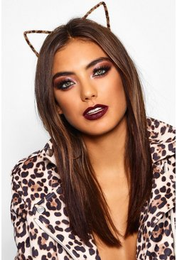 Womens Brown Halloween Faux Fur Leopard Cat Ears