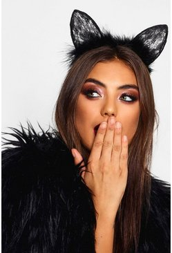 Womens Halloween Black Lace & Feather Cat Ears