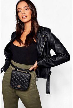 Womens Black Quilted Belt Bag