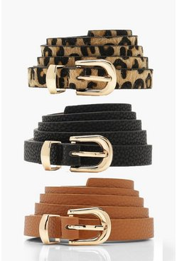 Womens Multi 3 Pack Skinny Belt