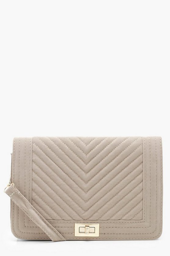 Womens Taupe Chevron Suedette Quilt Cross Body