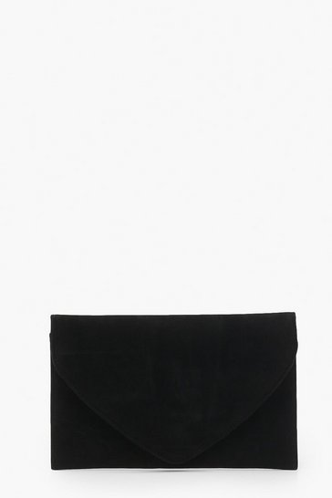 Womens Black Suedette Envelope Clutch Bag