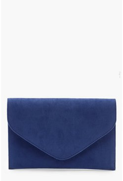 Womens Cobalt Suedette Envelope Clutch Bag