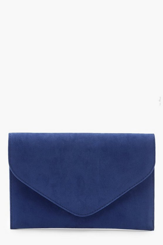 Suedette Envelope Clutch Bag