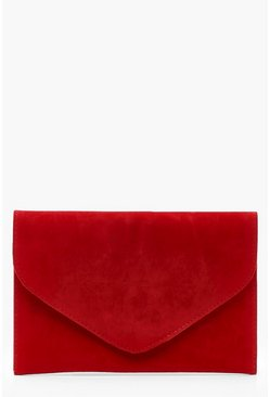 Womens Red Suedette Envelope Clutch Bag