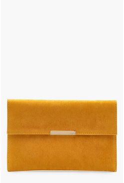 Womens Mustard Envelope & Bar Clutch Bag