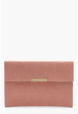 Womens Nude Envelope & Bar Clutch Bag