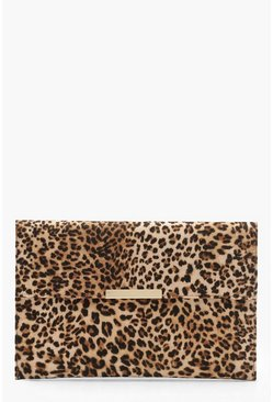 Kuvert-Clutch mit Steg in Leopard-Design, Naturfarben, Damen