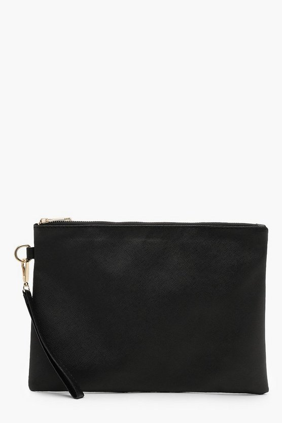 Crosshatch Ziptop Clutch Crosshatch Ziptop Clutch by Boohoo