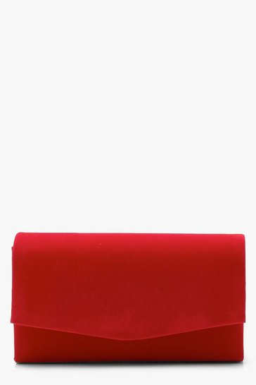 Womens Red Structured Suedette Clutch Bag & Chain