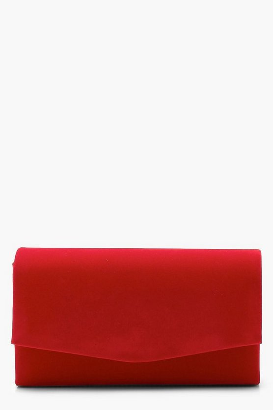 Womens Red Structured Suedette Clutch With Chain