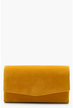 Womens Mustard Structured Suedette Clutch Bag & Chain