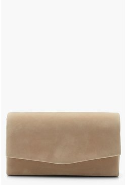 Taupe Structured Suedette Clutch Bag & Chain