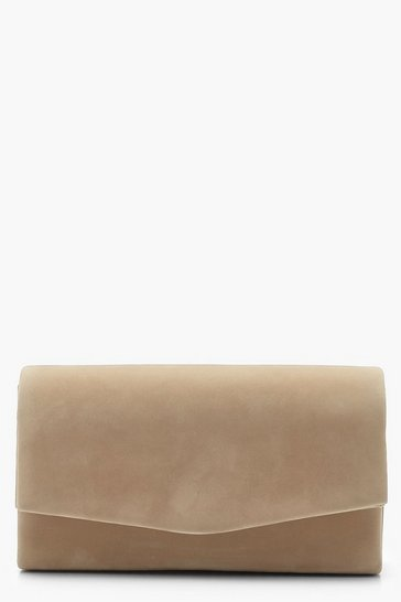 Womens Taupe Structured Suedette Clutch Bag & Chain