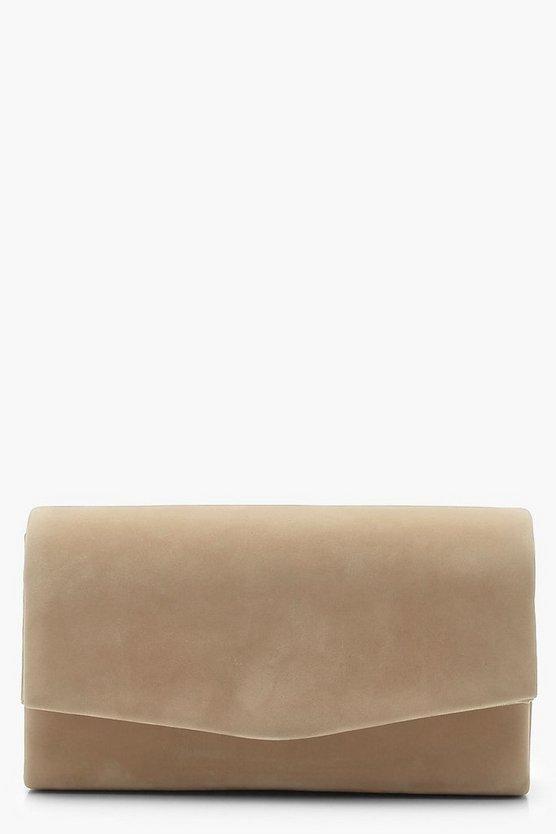 Structured Suedette Clutch Bag & Chain
